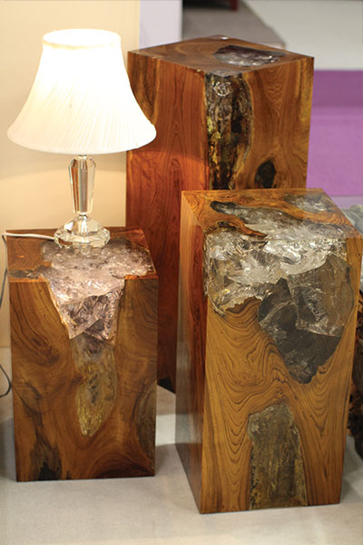 Teak and Cracked Resin Furniture - Tristan Cockerill