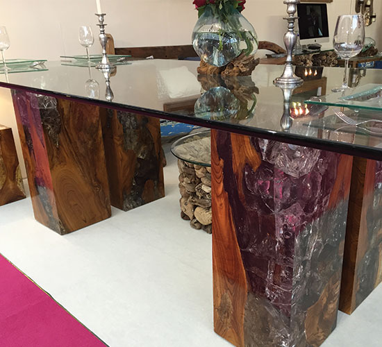 Vidaxl Coffee Table Teak Resin: Teak And Cracked Resin Furniture